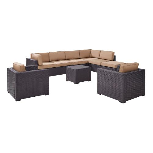 Biscayne 7-PC Outdoor Wicker Sectional Set - 2 Loveseats, 2 Arm Chairs, Armless Chair, Coffee Table, Ottoman - Mocha/Brown