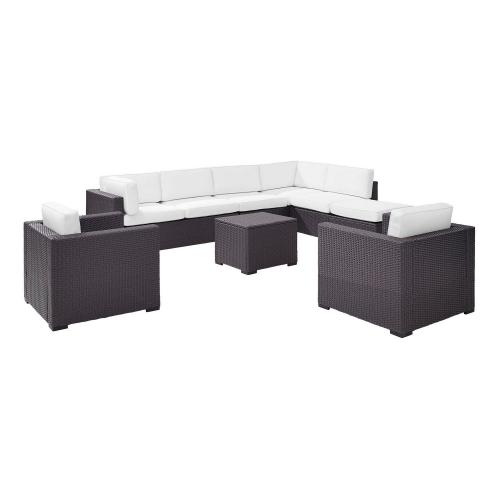 Biscayne 7-PC Outdoor Wicker Sectional Set - 2 Loveseats, 2 Arm Chairs, Armless Chair, Coffee Table, Ottoman - White/Brown