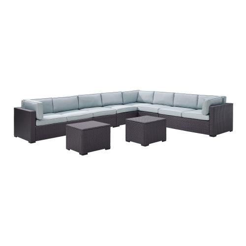 Biscayne 7-PC Outdoor Wicker Sectional Set - 3 Loveseats, 2 Armless Chair, 2 Coffee Tables - Mist/Brown