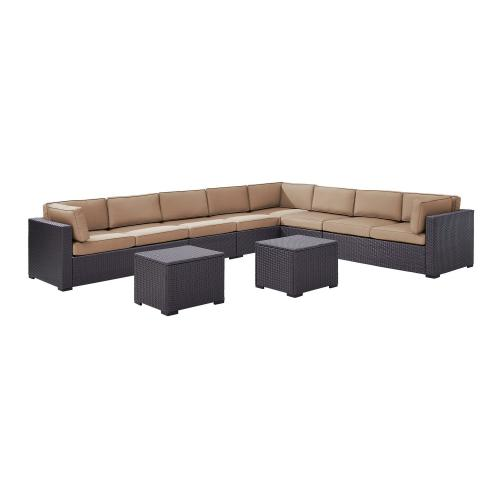 Biscayne 7-PC Outdoor Wicker Sectional Set - 3 Loveseats, 2 Armless Chair, 2 Coffee Tables - Mocha/Brown
