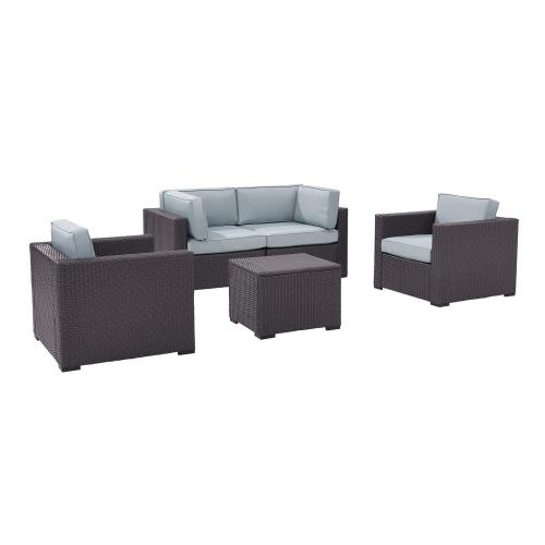 Biscayne 5-PC Outdoor Wicker Sectional Set - 2 Armchairs, 2 Corner Chair, Coffee Table - Mist/Brown