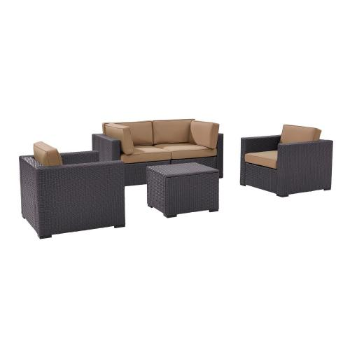 Biscayne 5-PC Outdoor Wicker Sectional Set - 2 Armchairs, 2 Corner Chair, Coffee Table - Mocha/Brown
