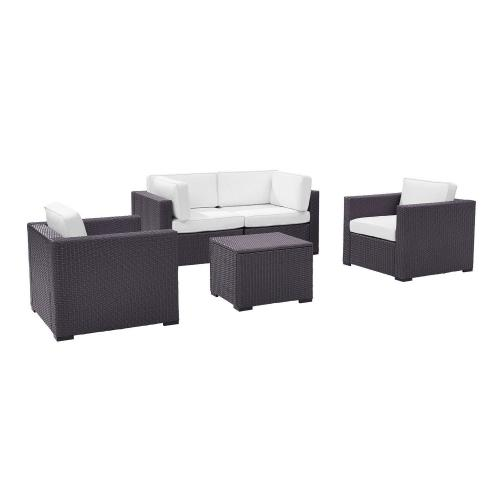 Biscayne 5-PC Outdoor Wicker Sectional Set - 2 Armchairs, 2 Corner Chair, Coffee Table - White/Brown