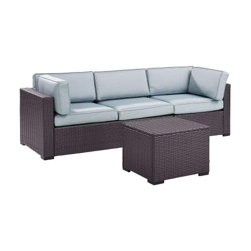 Biscayne 3-PC Outdoor Wicker Sectional Set - Loveseat, Corner Chair, Coffee Table - Mist/Brown
