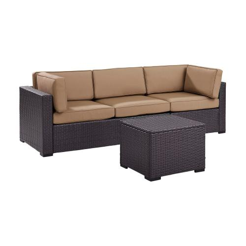 Biscayne 3-PC Outdoor Wicker Sectional Set - Loveseat, Corner Chair, Coffee Table - Mocha/Brown