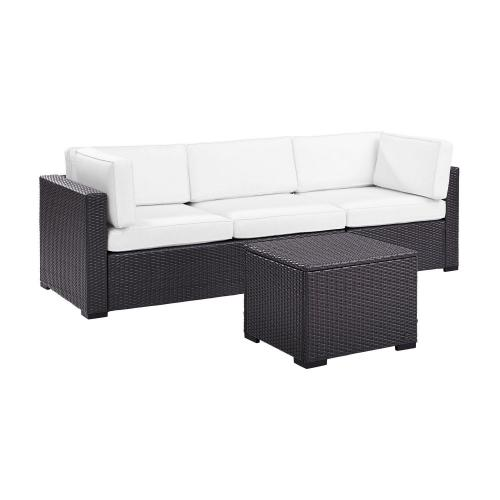 Biscayne 3-PC Outdoor Wicker Sectional Set - Loveseat, Corner Chair, Coffee Table - White/Brown