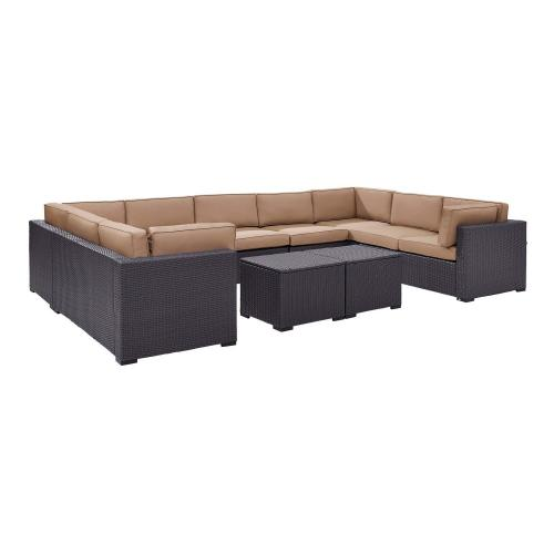 Biscayne 7-PC Outdoor Wicker Sectional Set - 4 Loveseats, Armless Chair, 2 Coffee Tables - Mocha/Brown