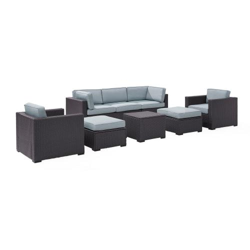 Biscayne 7-PC Outdoor Wicker Sectional Set - Loveseat, 2 Arm Chairs, Corner Chair, Coffee Table, 2 Ottomans - Mist/Brown