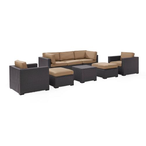 Biscayne 7-PC Outdoor Wicker Sectional Set - Loveseat, 2 Arm Chairs, Corner Chair, Coffee Table, 2 Ottomans - Mocha/Brown