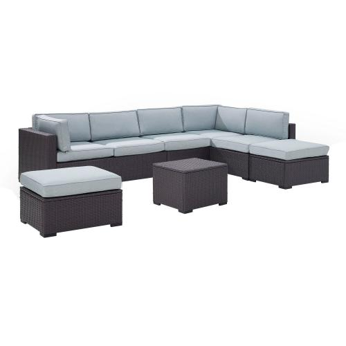 Biscayne 6-PC Outdoor Wicker Sectional Set - 2 Loveseats, Armless Chair, Coffee Table, 2 Ottomans - Mist/Brown
