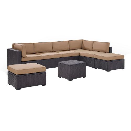 Biscayne 6-PC Outdoor Wicker Sectional Set - 2 Loveseats, Armless Chair, Coffee Table, 2 Ottomans - Mocha/Brown
