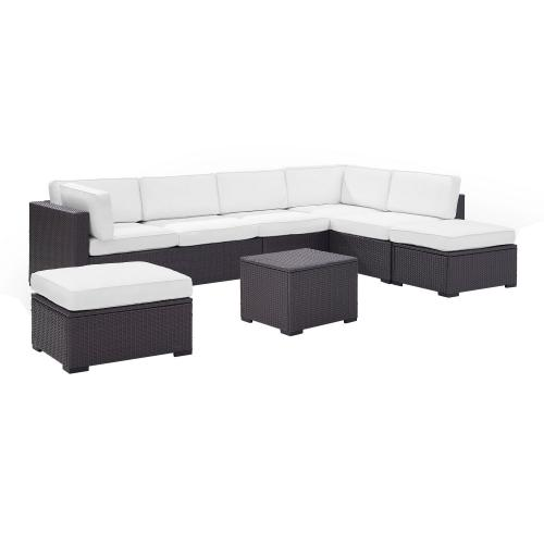 Biscayne 6-PC Outdoor Wicker Sectional Set - 2 Loveseats, Armless Chair, Coffee Table, 2 Ottomans - White/Brown