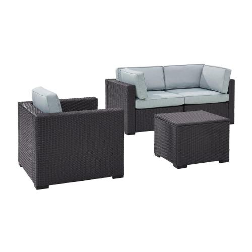 Biscayne 4-PC Outdoor Wicker Sectional Set - 2 Corner Chairs, Arm Chair, Coffee Table - Mist/Brown