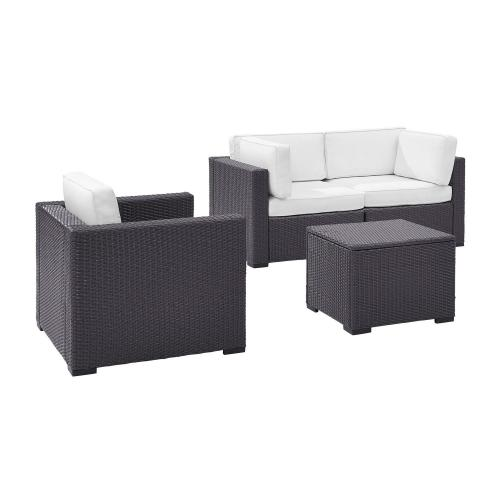 Biscayne 4-PC Outdoor Wicker Sectional Set - 2 Corner Chairs, Arm Chair, Coffee Table - White/Brown