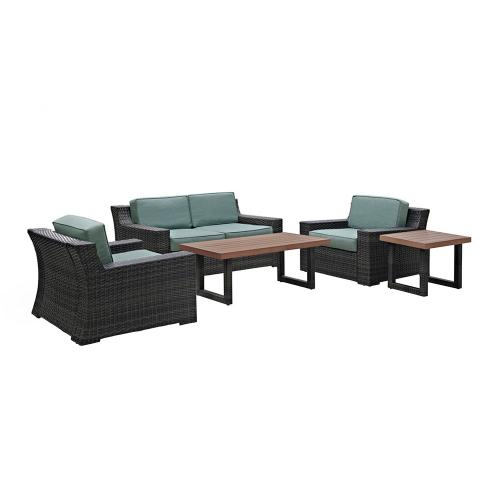 Beaufort 5-PC Outdoor Wicker Conversation Set - Loveseat, 2 Chairs, Coffee Table, Side Table - Mist/Brown