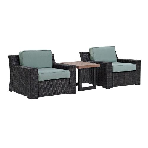 Beaufort 3-PC Outdoor Wicker Chair Set - Side Table and 2 Chairs - Mist/Brown