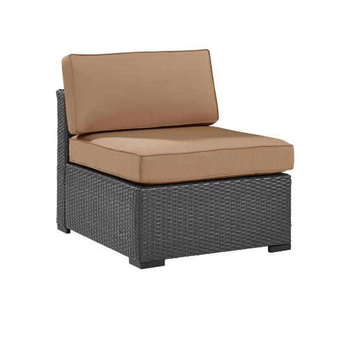 Biscayne Outdoor Wicker Armless Chair - Mocha/Brown
