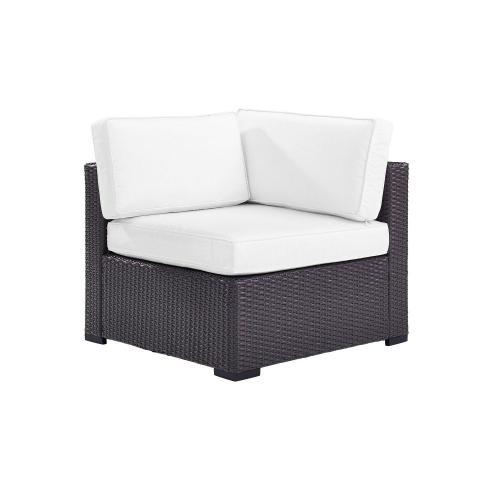 Biscayne Outdoor Wicker Corner Chair - White/Brown