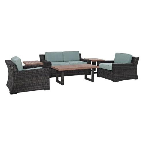 Beaufort 6-PC Outdoor Wicker Conversation Set - Loveseat, 2 Chairs, Coffee Table, 2 Side Tables - Mist/Brown