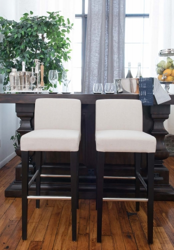 City 2-Piece Bar Height Barstools - Burlap