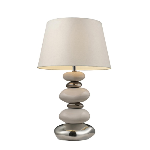 3948/1 Elemis Table Lamp - Pure White and Chrome
