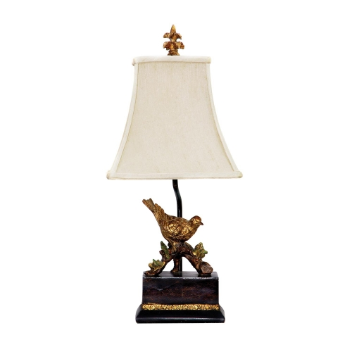91-171 Perching Robin Table Lamp - Gold Leaf / Black