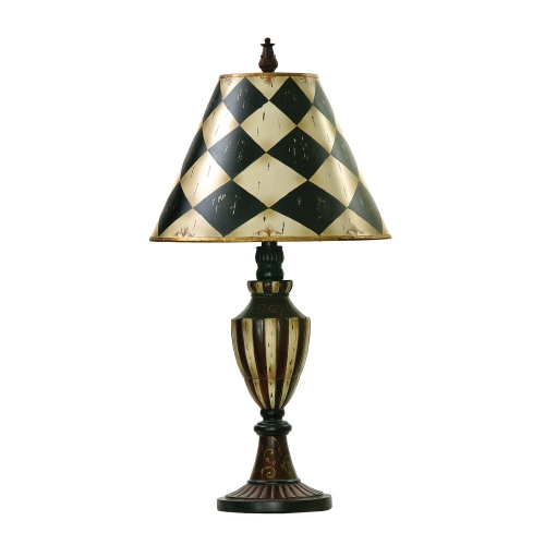 91-342 Harlequin and Stripe Urn Table Lamp - Black / Antique White