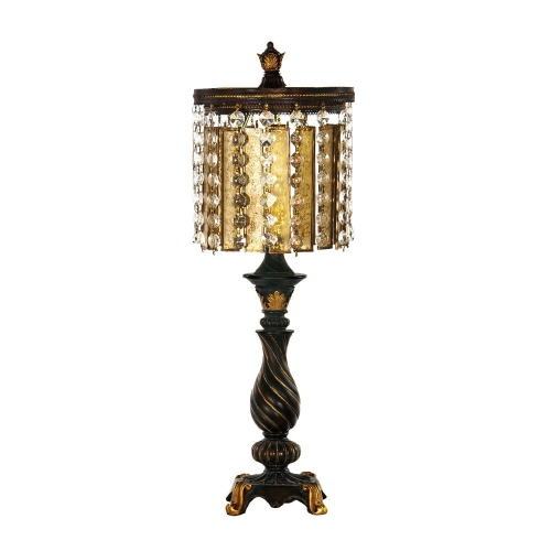 93-090 Amber and Crystal Table Lamp - Gold Leaf / Black