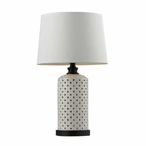 D128 Table Lamp - Cream Glazeand Dark Brown Paint