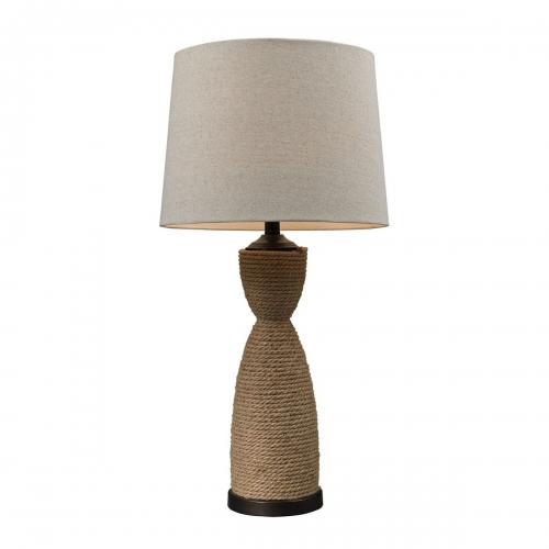 D129 Table Lamp - Natural Rop/Dark Brown