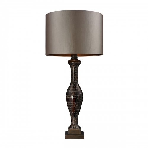 D130 Table Lamp - Hand Painted Glass with Williams Bronze Metal Work