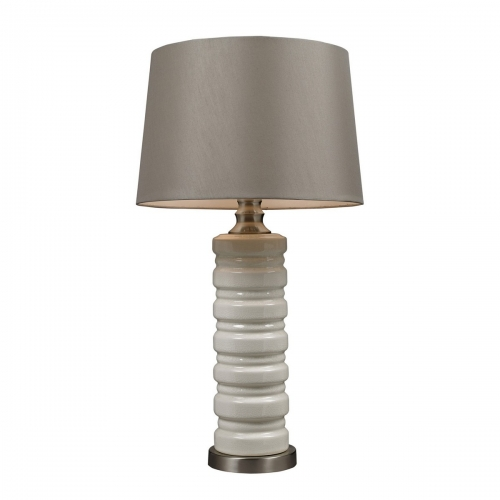 D131 Table Lamp - Ceram Crackle Ceramic with Brushed Steel Base