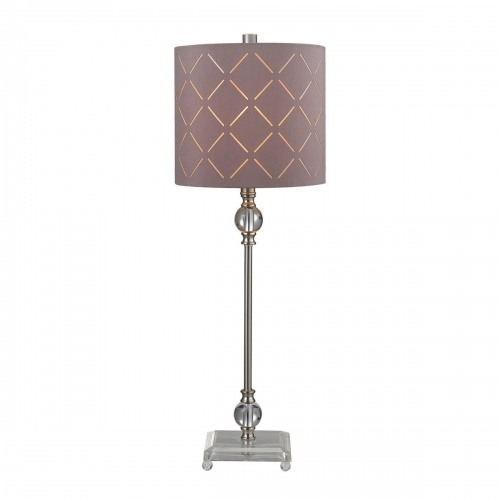 D144 Table Lamp - Brushed Steel/Clear