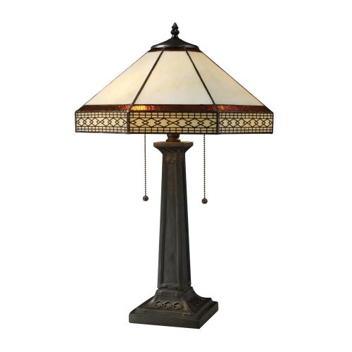 D1858 Stone Filigree Table Lamp - Tiffany Bronze