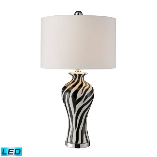 D1882-LED Carlton Table Lamp - Black, White and Chrome