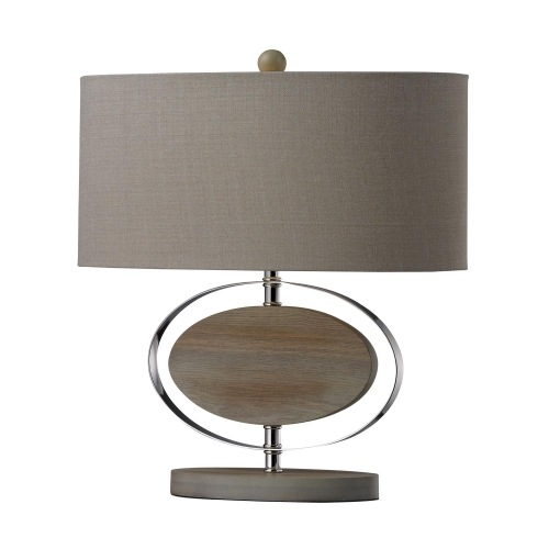 D2296 Hereford Table Lamp - Bleached Wood with Chrom