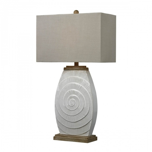 D250 Table Lamp - Fauborg Glaze with Light Wood Tone Accents