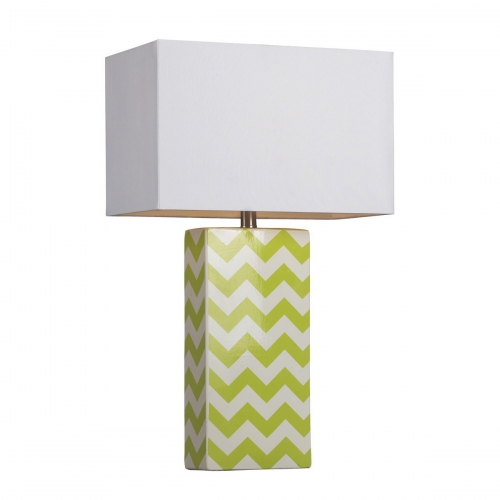 D278 Table Lamp - Citrus Green/White Chevron