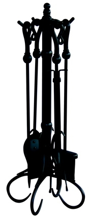 5 Pc Black Fireset With Heavy Crook Handles-Uniflame