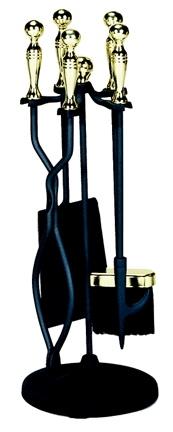 5 Pc Polished Brass /black Stoveset-Uniflame