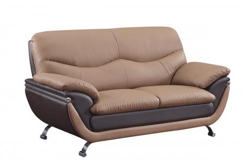 2106 Love Seat - Brown/Dark Brown
