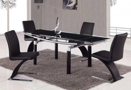 88 Dining Set - Black Glass