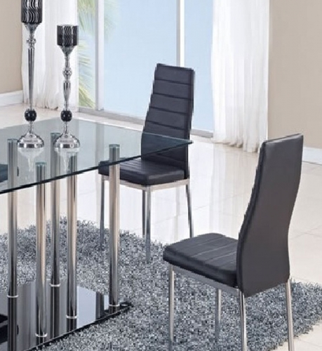 140DC Dining Chair - Vinyl - Black/Metal Legs