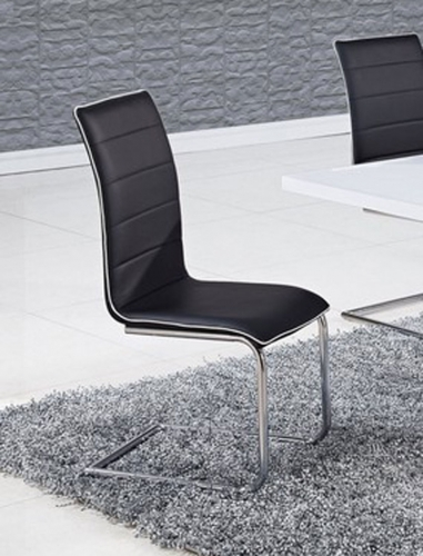 490 Dining Chair - Black/White Trim - Metal Legs
