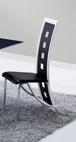 803 Dining Chair - Black/White Trim - Metal Legs