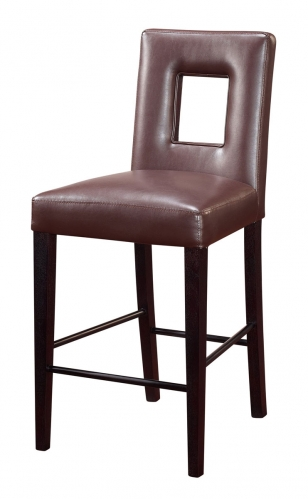G072 Bar Stool - Vinyl/Brown/Beige - MDF/Wood Legs