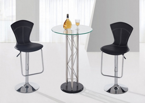 208 - Bar Table Set - Black - Chrome Legs A