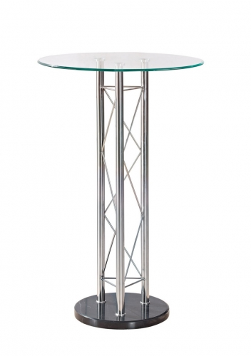 208 - Bar Table - Black - Chrome Legs