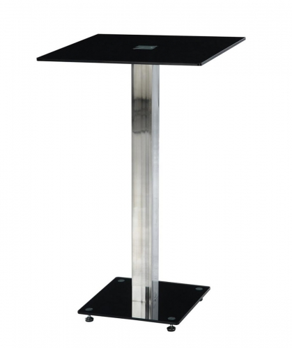 D096 - Bar Table - Black Glass - Metal Legs