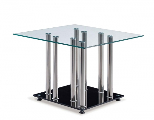 368 End Table - Black - Stainless Steel Legs